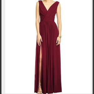 Dessy Collection Burgundy Chiffon Maxi Dress Gown